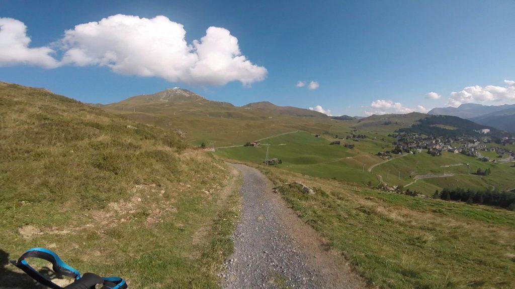 Ungefähr Kilometer 20, kurz vor Arosa, mit Blick auf das Weisshorn