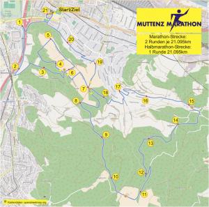 Streckenführung des Muttenz-Marathon
