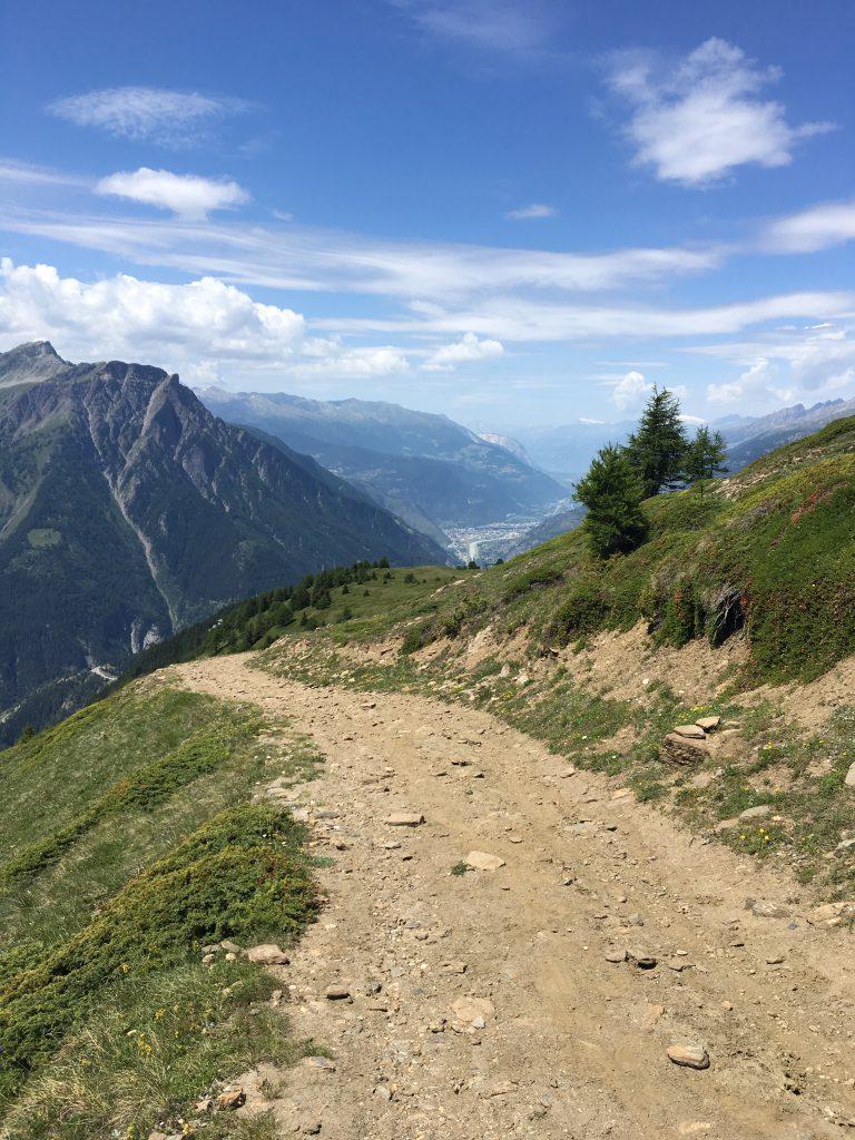 Kurz vor Rosswald - Blick auf das Rhonetal