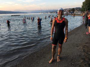 Morgens vom Einschwimmen im über 25°C warmen Zürichsee